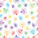 Cartoon diamond seamless vector background. Royalty Free Stock Image