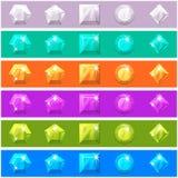 Cartoon diamonds set in editable different colors Stock Image