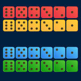 Cartoon dice flat illustration in four color set- Red, yellow, blue, green Royalty Free Stock Photography