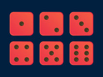 Cartoon dice flat illustration in Red color royalty free stock photos