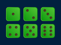 Cartoon dice flat vector illustration in Green color Royalty Free Stock Photos