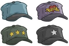 Cartoon different cap or hat vector icon set