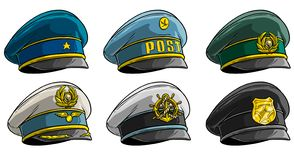 Cartoon different peaked caps with cockade stock illustration