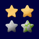 Cartoon different Stars. Vector illustration.Set of Cartoon different Stars.Glossy Star  on a dark background. Game icon.Vector design for app user interface Royalty Free Stock Images