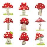 Cartoon different types of amanita mushrooms vector. Royalty Free Stock Photos