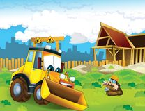 The cartoon digger - illustration for the children Royalty Free Stock Photos