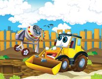 The cartoon digger - illustration for the children Stock Image