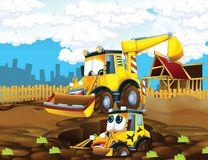 The cartoon digger - illustration for the children Stock Photography