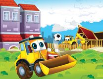 The cartoon digger - illustration for the children Royalty Free Stock Image