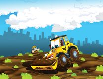 The cartoon digger - illustration for the children stock illustration