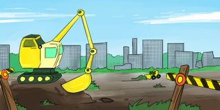 Cartoon Diggers in City. Diggers at work with a cityscape backfrop Stock Photos