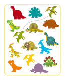 Cartoon dino - matching game Stock Photo