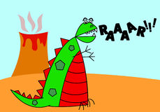Cartoon Dinosaur. A cute and colorful cartoon dinosaur rages past an erupting volcano Royalty Free Stock Images