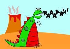 Cartoon Dinosaur. A cute and colorful cartoon dinosaur rages past an erupting volcano stock illustration