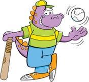 Cartoon dinosaur with a bat and baseball royalty free illustration