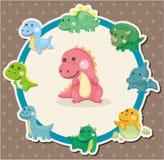 Cartoon dinosaur card vector illustration