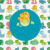 Cartoon dinosaur card Royalty Free Stock Images