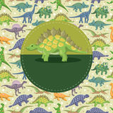 Cartoon dinosaur card Stock Photography