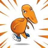Cartoon dinosaur character of running vector illustration