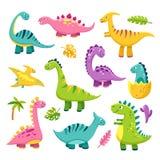 Cartoon dinosaur. Cartoon cute baby dino triceratops prehistoric wild animals brontosaurus isolated dinosaurs vector vector illustration