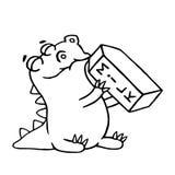 Cartoon dinosaur is drinking milk. Isolated vector illustration. Stock Images