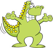 Cartoon dinosaur with extended arms Royalty Free Stock Photo