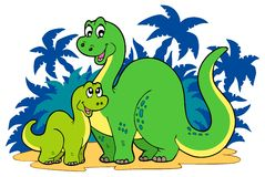 Cartoon dinosaur family Stock Photos