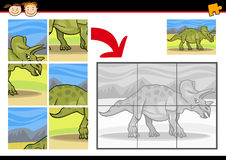 Cartoon dinosaur jigsaw puzzle game Stock Image