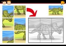 Cartoon dinosaur jigsaw puzzle game Stock Image