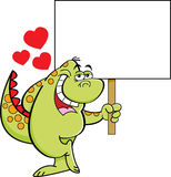 Cartoon dinosaur in love and holding a sign Stock Photography