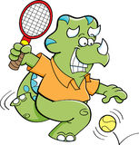 Cartoon dinosaur playing tennis Royalty Free Stock Image
