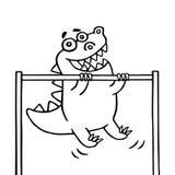 Cartoon dinosaur pulls up on the transponder. vector illustration Stock Photography