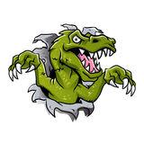 Cartoon dinosaur ripping through a wall Royalty Free Stock Photography