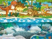 Cartoon dinosaur scene - underwater and land dinosaurs Royalty Free Stock Photos