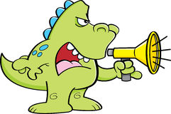Cartoon dinosaur shouting into a megaphone. Cartoon illustration of a dinosaur shouting into a megaphone Stock Images