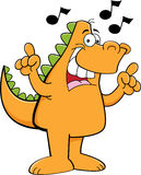 Cartoon dinosaur singing. Stock Images