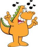 Cartoon dinosaur singing. vector illustration