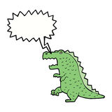 Cartoon dinosaur with speech bubble Stock Photo
