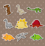 Cartoon dinosaur stickers Stock Photos