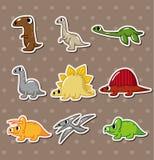 Cartoon dinosaur stickers stock illustration