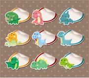 Cartoon dinosaur Stickers Label royalty free illustration