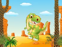 Cartoon dinosaur tyrannosaurus looks sideways with desert background Royalty Free Stock Photography