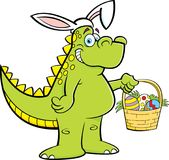 Cartoon dinosaur wearing rabbit ears and holding an Easter basket. Royalty Free Stock Photos