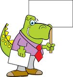 Cartoon dinosaur wearing a tie and holding a sign. Stock Photo