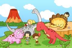 Cartoon dinosaur world of imagination with kids and children pla. Ying and feeding Tyrannosaur, Stegosaurus, Triceratops, and Brontosaurus, walking friendly in Royalty Free Stock Photo