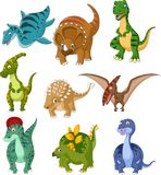 Cartoon dinosaurs collection set Stock Illustration