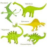 Cartoon dinosaurs. Cartoon dinosaurus collection. Child style dinosaurus drawing Stock Photo