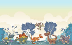 Cartoon dinosaurs. Forest with funny cartoon dinosaurs Stock Images