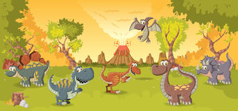 Cartoon dinosaurs. Royalty Free Stock Photo
