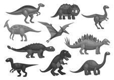 Cartoon dinosaurs icons set of jurassic characters. Dinosaurs or dino jurassic cartoon characters of t-rex tyrannosaurus, brontosaurus and triceratops lizard royalty free illustration